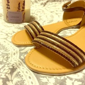 Black and Gold Beaded Sandals